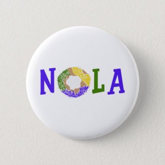 KING CAKE NOLA 2 INCH ROUND BUTTON