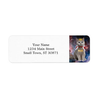 king cat in the space return address label