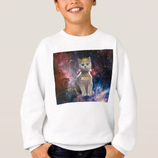 king cat in the space sweatshirt