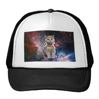 king cat in the space trucker hat