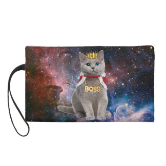 king cat in the space wristlet purses