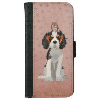 KING CHARLES CAVALIER & OWL iPhone 6 WALLET CASE