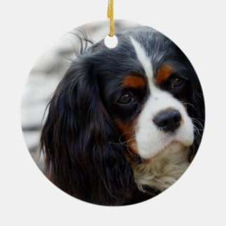 King Charles Cavalier Portrait Round Ceramic Ornament