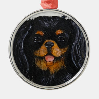 King Charles Cavalier Spaniel black and tan Silver-Colored Round Ornament