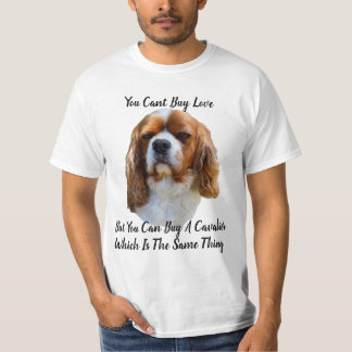 King Charles Cavalier Spaniel Dog Face And Logo, T-Shirt