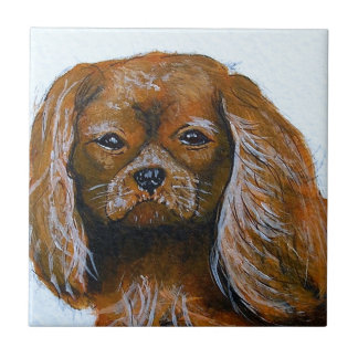 King Charles Cavalier Spaniel red Ceramic Tiles
