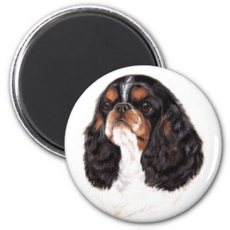king charles/ english toy spaniel magnet : tricolo