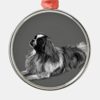 King Charles Silver-Colored Round Ornament