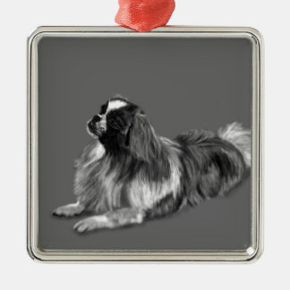 King Charles Silver-Colored Square Ornament