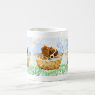 King Charles Spaniel Puppy In A Basket Mug