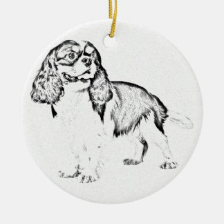 KIng Charles Spaniel Round Ceramic Ornament