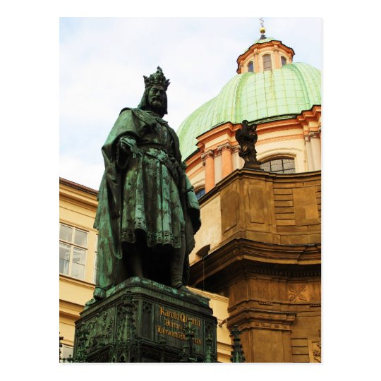 King Charles statue, Prague Postcard