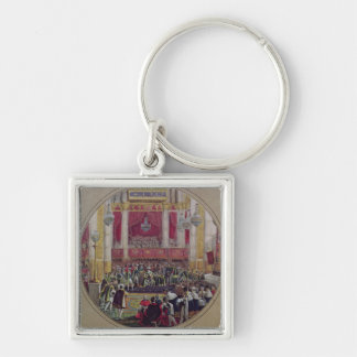 King Charles X  receiving the Knights Silver-Colored Square Keychain
