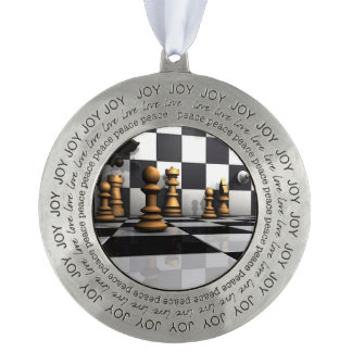 King Chess Play Pewter Ornament