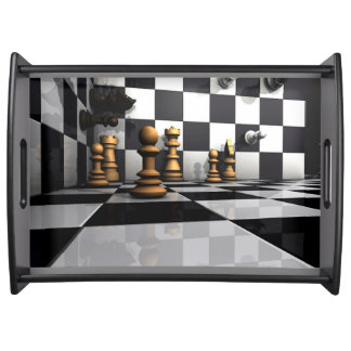 King Chess Play Serving Tray
