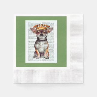 king chihuahua decorative paper napkin