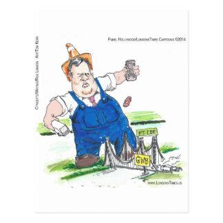 King Christie & GW Bridge Funny Postcard