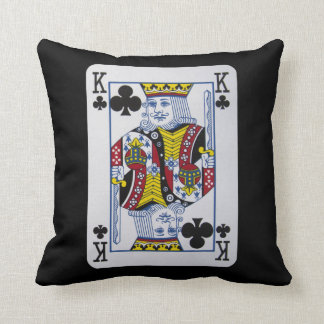 King Clovers (Clubs) Playing Card Throw Pillow