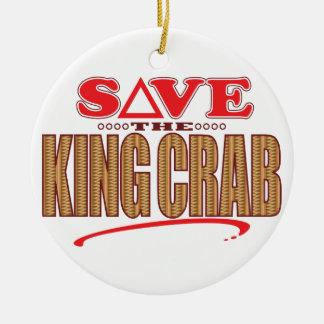 King Crab Save Round Ceramic Ornament