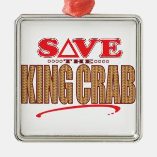 King Crab Save Silver-Colored Square Ornament