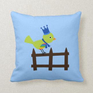 King Crown Bird Birds Green Cute Cartoon on Fence Throw Pillows