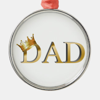King Dad Silver-Colored Round Ornament