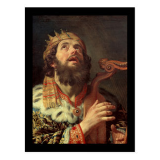 King David Playing His Harp Postcard