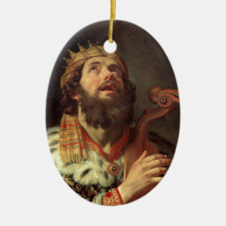 King David Playing the Harp Ceramic Oval Ornament