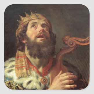 King David Playing the Harp Square Sticker