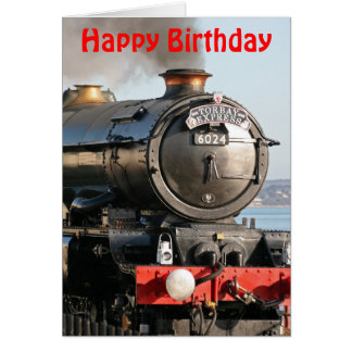 King Edward 1 Steam Engine Happy Birthday Greeting Card
