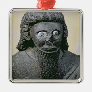 King Hadad, from the Palace at Tell-Halaf, Syria Silver-Colored Square Ornament