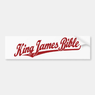 King James Bible Script Logo in red Bumper Stickers