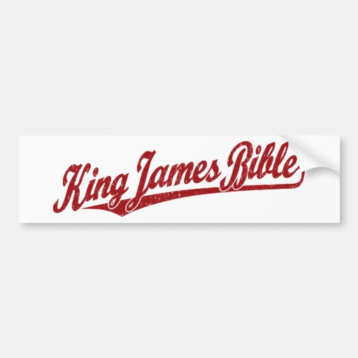King James Bible Script Logo in red distressed Bumper Stickers