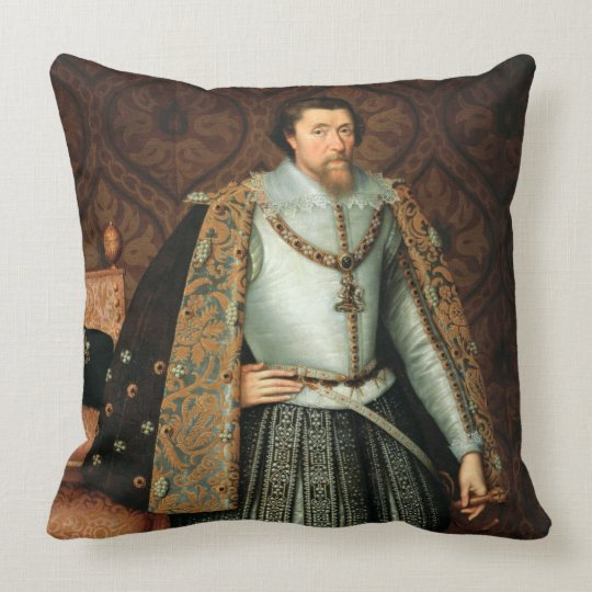 King James I of England (1566-1625) (oil on canvas Throw Pillow