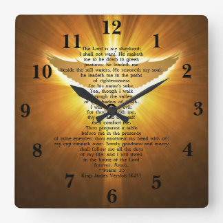King James Version Psalm 23 Bible Scripture Square Wall Clock