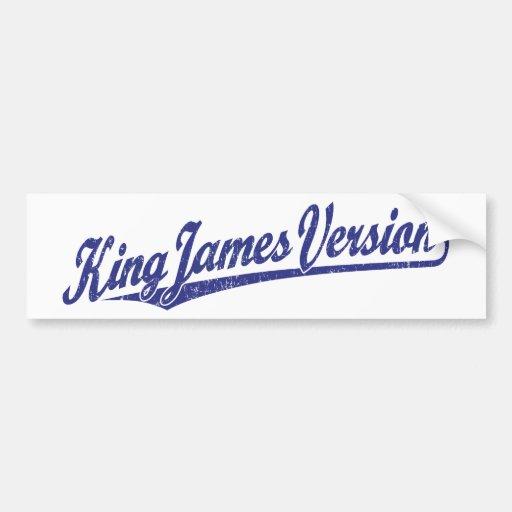 King James Version Script Logo in blue distressed Bumper Stickers