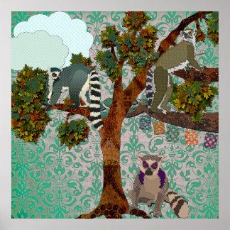 King Jullian & Lemurs Out On A Limb Green Damask P Poster