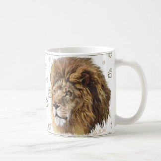 King Lion Paw Print Mug, White Coffee Mug