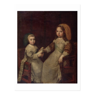 King Louis XIV (1638-1715) as a child with Philipp Postcard