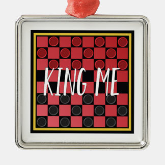 King Me Silver-Colored Square Ornament