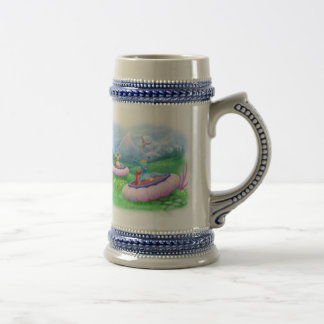 King Monty and Prince Marvin on their Hoversleds 18 Oz Beer Stein
