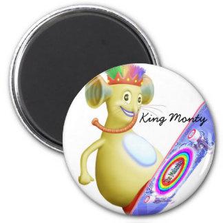King Monty on Skate Board 2 Inch Round Magnet