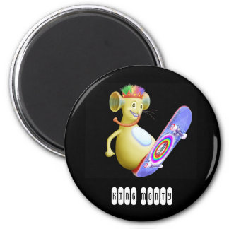 King Monty on Skate Board 2 Inch Round Magnet