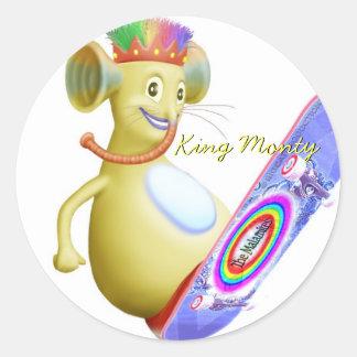 King Monty on Skate Board Round Sticker