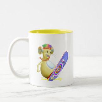 King Monty on Skate Board Two-Tone Coffee Mug