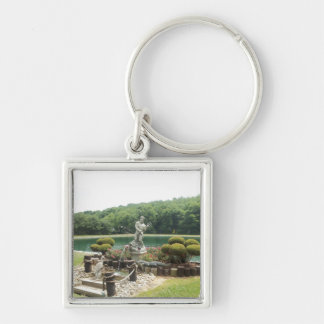 King Neptune of the Garden Silver-Colored Square Keychain