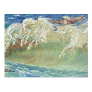 King Neptune's Horses On the Beach Postcard