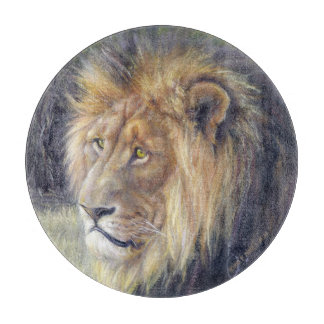 """King of Beasts 12"""" round glass cutting board. Boards"""