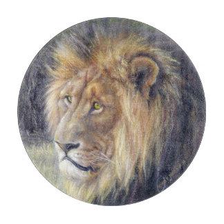 "King of Beasts 12"" round glass cutting board. Cutting Board"