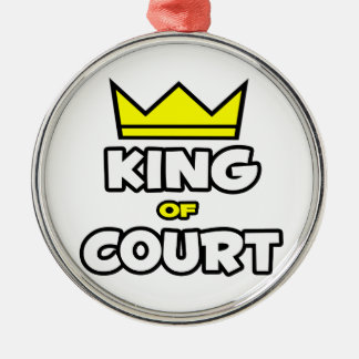 King of Court Silver-Colored Round Ornament
